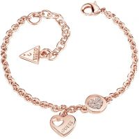 Ladies Guess Rose Gold Plated Heart Devotion Bracelet UBB82059-L