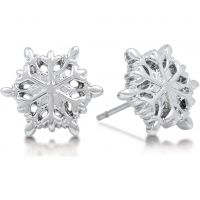Ladies Disney Couture PVD Silver Plated Frozen White Snowflake Stud Earrings DFE300