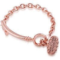 Damen Disney Couture PVD Rosa plating Alice in Wonderland Curved Schlüssel Armband