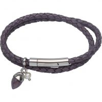 Damen Unique Edelstahl & Leder Amethyst & Perle Anhänger Armband