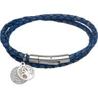 Damen Unique Edelstahl & Leder Baum & Kristall Scheibe Anhänger Armband