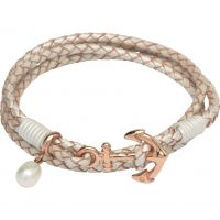 Ladies Unique Stainless Steel & Leather Anchor Clasp & Pearl Charm Bracelet B314PE/19CM