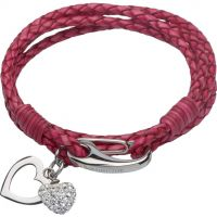 Ladies Unique & Co Stainless Steel & Leather Crystal Heart Charm Bracelet