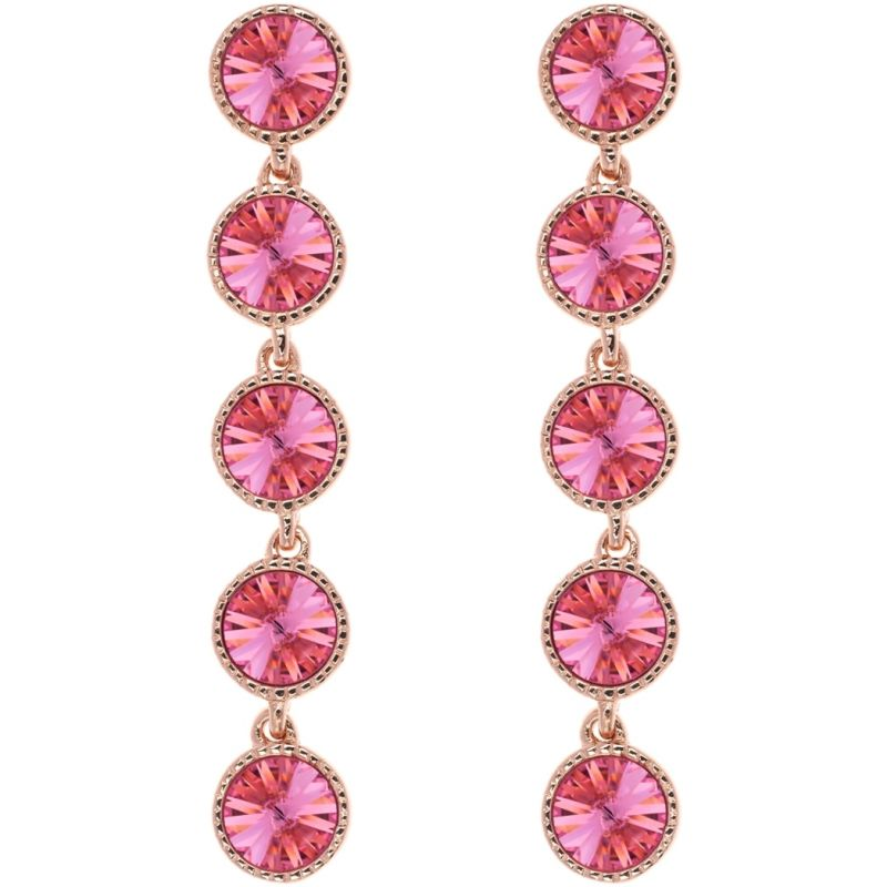 Ladies Ted Baker Rose Gold Plated Rizza Rivoli Crystal Long Earring TBJ1161-24-04