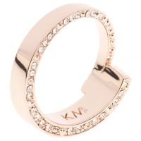 Ladies Karen Millen Rose Gold Plated Contoured Crystal Ring SM