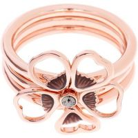 Damen Ted Baker Rose vergoldet Leotie Emaille Blume Stacking Ring SM