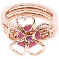 Ladies Ted Baker Rose Gold Plated Leotie Enamel Flower Stacking Ring ML