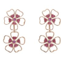 Ladies Ted Baker Rose Gold Plated Lorel Enamel Flower Double Earring