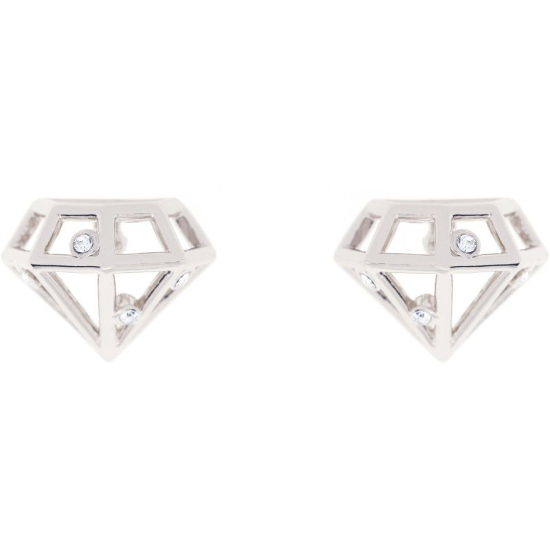 Ladies Ted Baker Silver Plated Cerese Crystal Sparkle Small Gem Frame Stud Earring TBJ1256-01-03