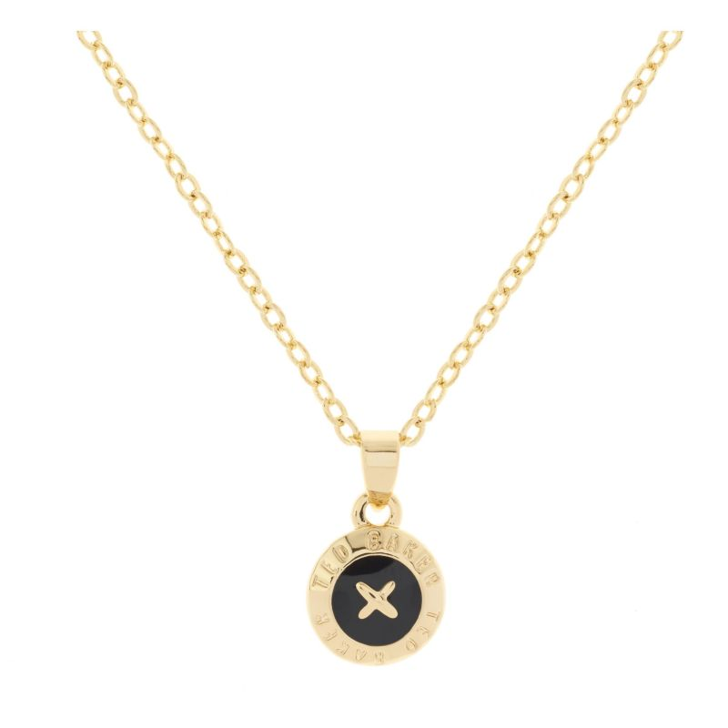 Ladies Ted Baker Gold Plated Elvina Enamel Mini Button Pendant Necklace TBJ1260-02-05