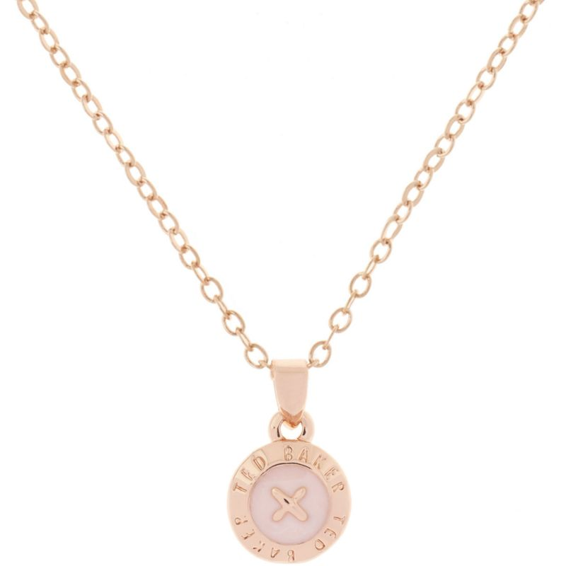 Ladies Ted Baker Rose Gold Plated Elvina Enamel Mini Button Pendant Necklace TBJ1260-24-134