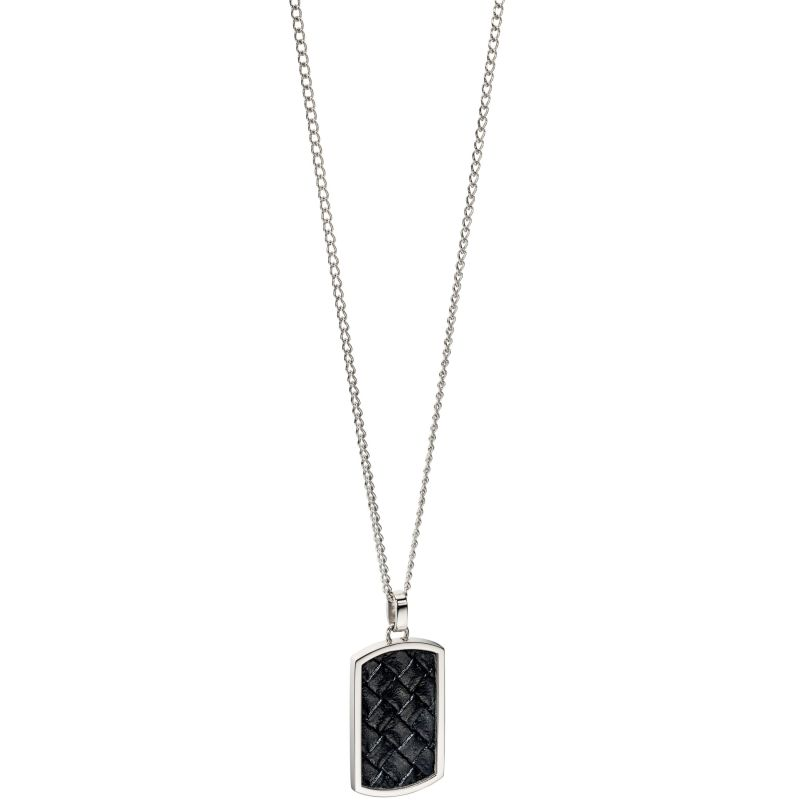 Mens Fred Bennett Stainless Steel & Leather Dog Tag Necklace N4001