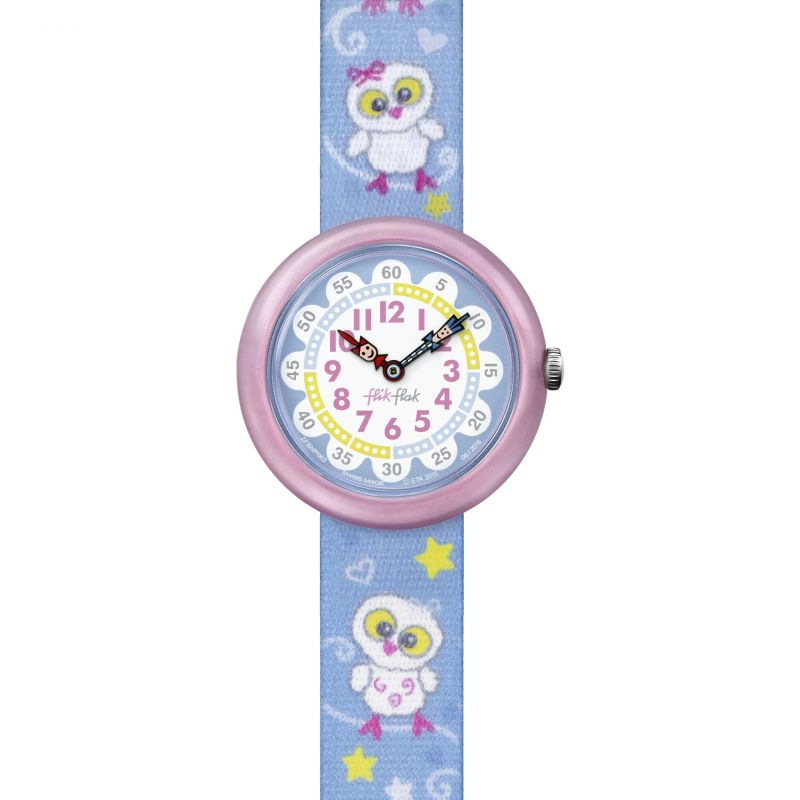 Childrens Flik Flak Cute Owls Watch FBNP063