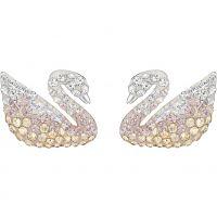 Femmes Swarovski Rhodium Plated Emblématique Swan Boucles d'oreilles