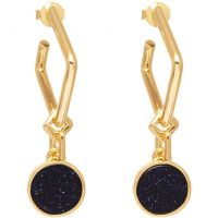 Ladies Lola Rose Gold Plated Blue Sandstone Garbo Circle Earrings 583428