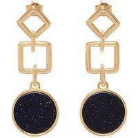 Ladies Lola Rose Rose Gold Plated Blue Sandstone Garbo Large Circle Earrings 583480