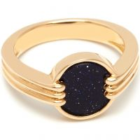 Ladies Lola Rose Gold Plated Blue Sandstone Garbo Mini Ring