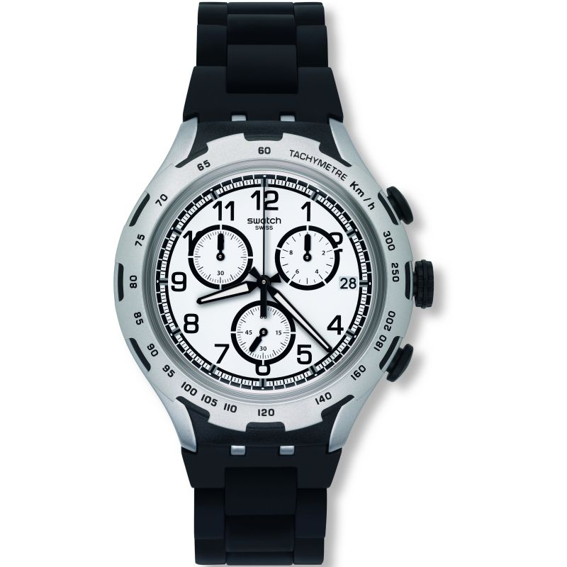 Unisex Swatch Black Attack Chronograph Watch YYS4020AG
