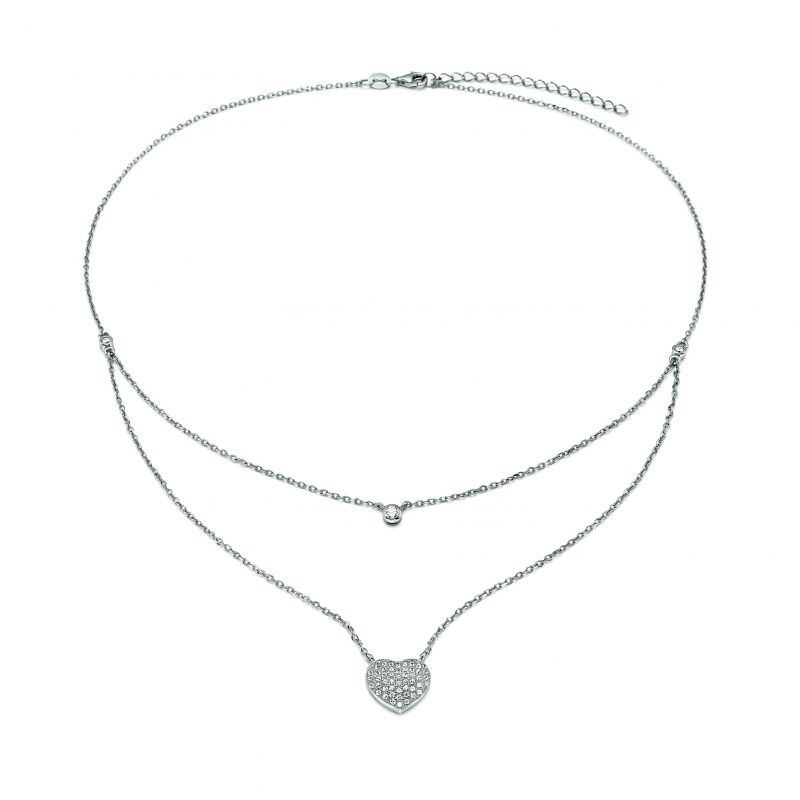 Ladies Folli Follie Sterling Silver Fashionably Silver Love Hearts Double Chain Necklace 5020.3033