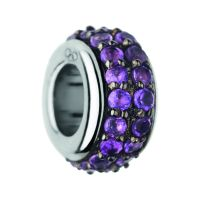 Ladies Links Of London Sterling Silver Pave Rondel Amethyst Pave Bead 5030.2417