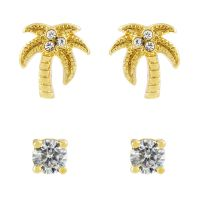 Ladies Juicy Couture Base metal Juicy Palm Expressions Stud Earrings Set
