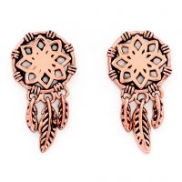 Ladies Chrysalis Rose Gold Plated Charmed Dream Catcher Earrings