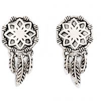 Ladies Chrysalis Silver Plated Charmed Dream Catcher Earrings