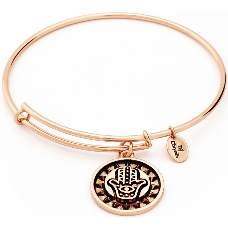 Ladies Chrysalis Rose Gold Plated Protection Talisman Hasma Hand Expandable Bangle CRBT0808RG