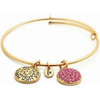 Ladies Chrysalis Gold Plated Good Fortune October Pink Tourmaline Crystal Expandable Bangle