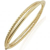 Fancy twist and plain bangle