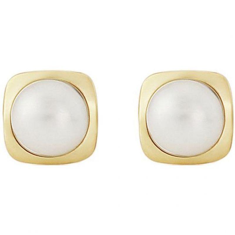 Cushion Shaped Freshwater Pearl Earrings