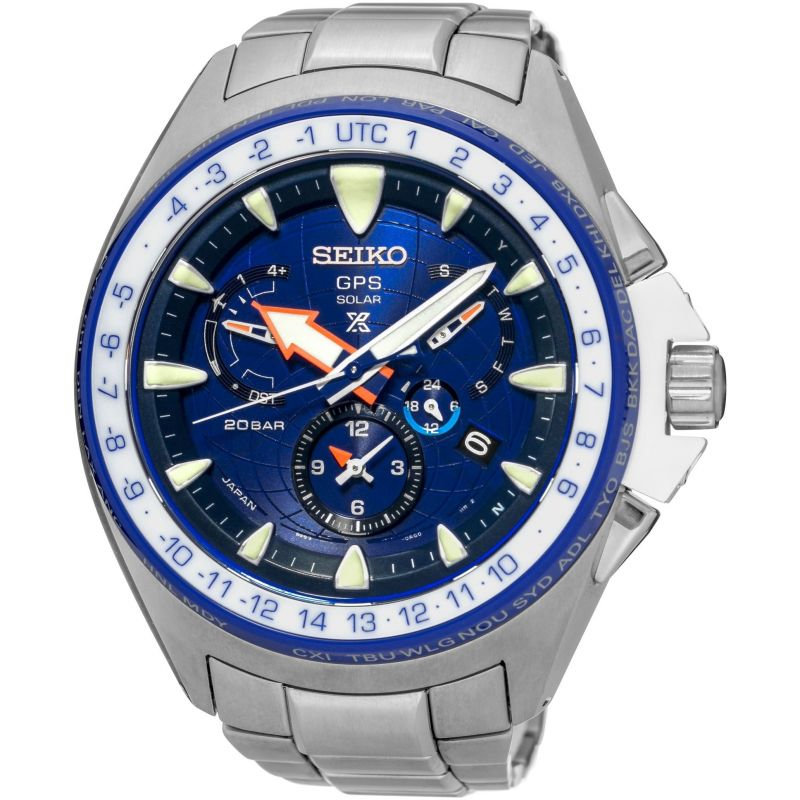 Mens Seiko Prospex Marinemaster Chronograph Solar Powered Watch SSF001J1