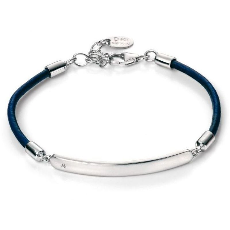 Childrens D For Diamond Sterling Silver Blue Leather ID Bracelet B4786