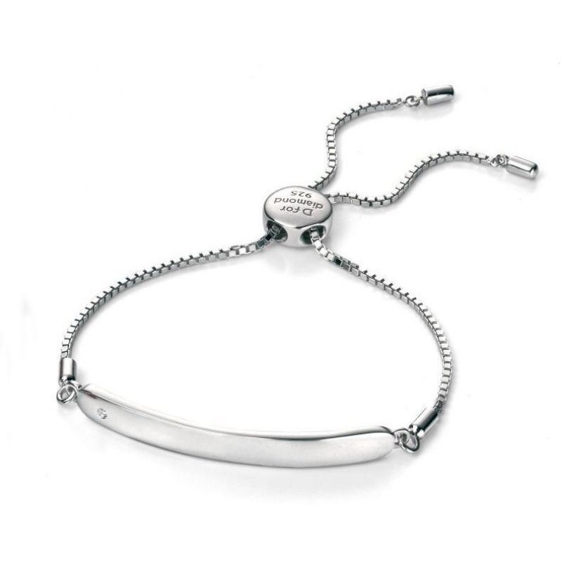 Childrens D For Diamond Sterling Silver ID Toggle Bracelet B4788