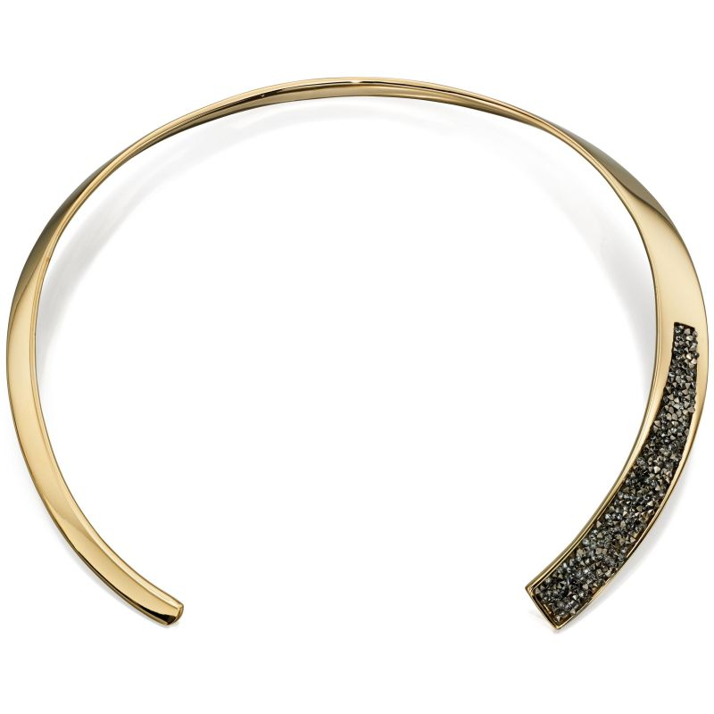 Ladies Fiorelli Gold Plated Pave Hinged Choker Necklace N3962