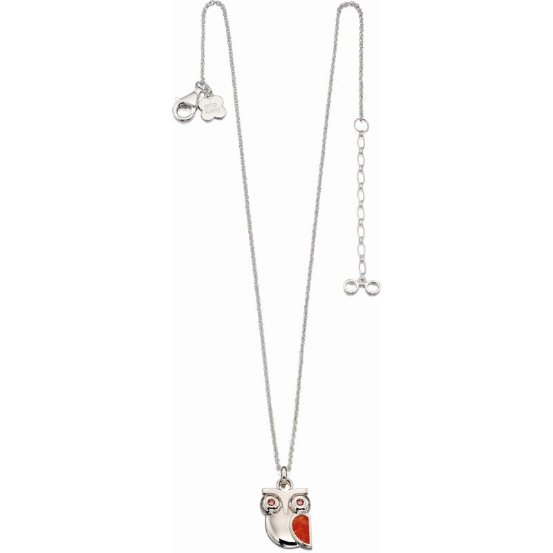 Ladies Orla Kiely Sterling Silver Crystal & Red Quartz Owl Necklace N4035