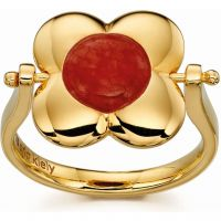 Ladies Orla Kiely Sterling Silver Tigers Eye & Red Quartz Rotating Flower Ring R3497-52