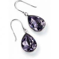 Ladies Elements Sterling Silver Crystal Tear Earrings E3347M