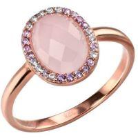 Damen Elemente Sterlingsilber Rose Quarz und würfelförmig Zirconia Ring Größe N
