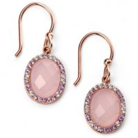 Ladies Elements Sterling Silver Rose Quartz and Cubic Zirconia Earrings E5094P
