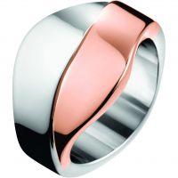 Damen Calvin Klein zwei-Tone Steel und Rose Plate Größe mittelgroß Senses Bico Armreif