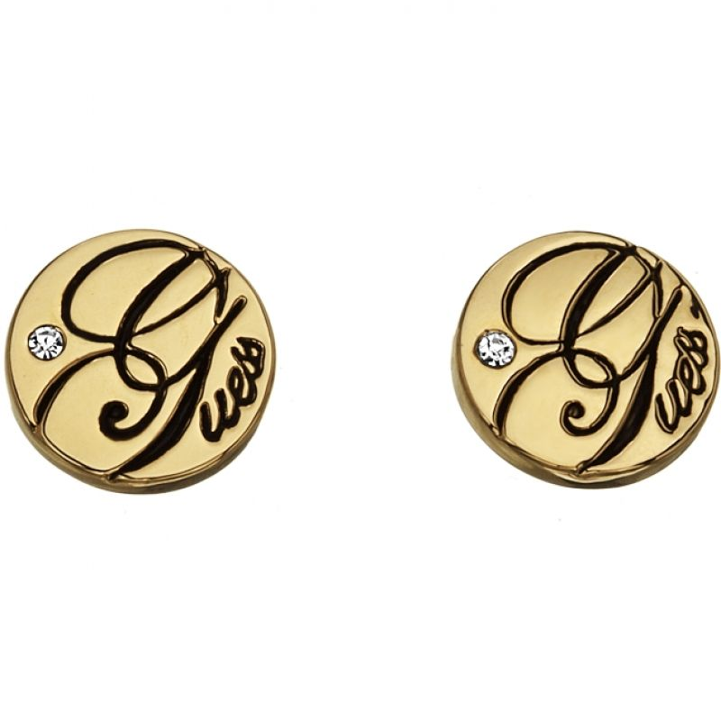 Ladies Guess Gold Plated Logo Stud Earrings UBE81308