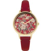femme Cath Kidston Garden Rose Red Leather Strap Watch CKL001RG