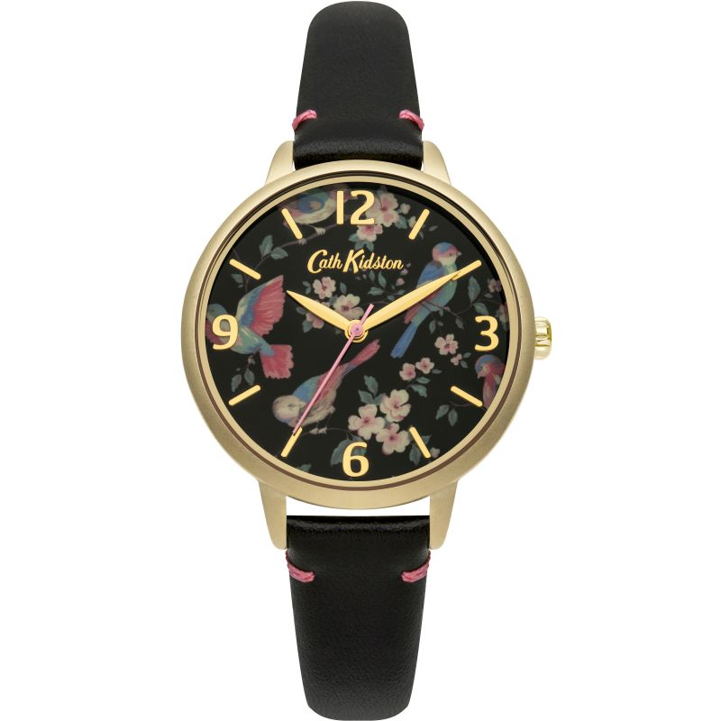 Damen Cath Kidston British Birds Black Leather Strap Watch CKL001BG