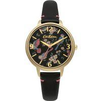 Damen Cath Kidston British Birds Schwarz Leder Armband Uhr