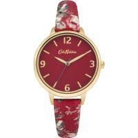 Damen Cath Kidston Garten Rose Rot Fabric Armband Uhr