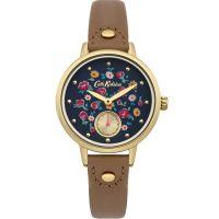 Damen Cath Kidston Klein Blume Buds Tan Leder Armband sub Dial Uhr