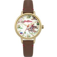 Damen Cath Kidston Cowboy Braun Leder Armband Uhr