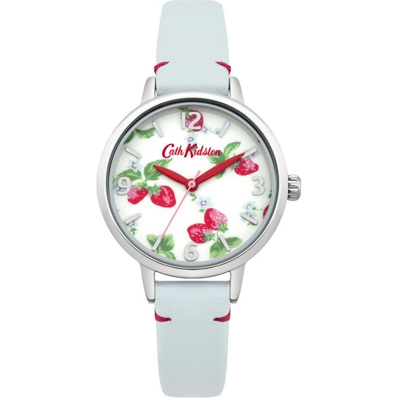 Damen Cath Kidston Strawberries Light Blue Leather Strap Watch CKL006WUS
