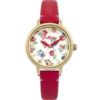 Damen Cath Kidston Linen Sprig Rot Leder Armband Uhr